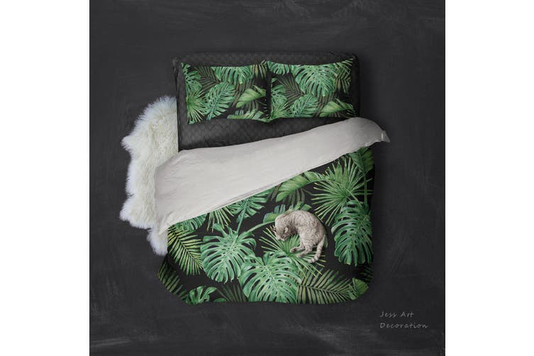3D Green Tropical Palm Tree Quilt Cover Set Bedding Set Pillowcases  90-Single