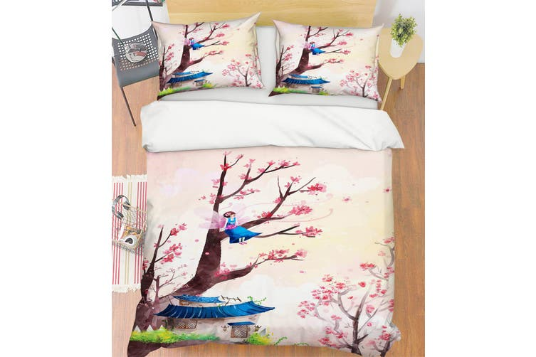 3D Pink House Tree Blossom Angel Quilt Cover Set Bedding Set Pillowcases 01-Single