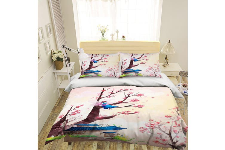 3D Pink House Tree Blossom Angel Quilt Cover Set Bedding Set Pillowcases 01-Double