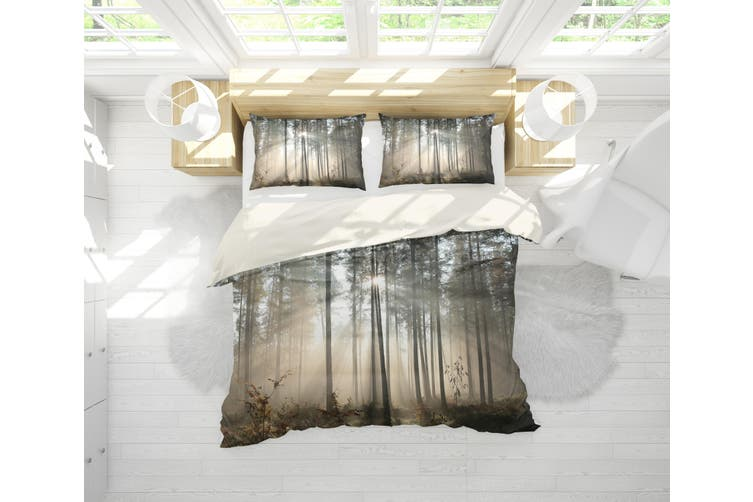 3D Sunset Forest Quilt Cover Set Bedding Set Pillowcases 27-Double