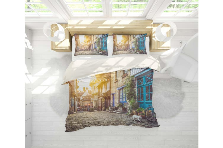 3D City Street Sunshine Quilt Cover Set Bedding Set Pillowcases 26-King