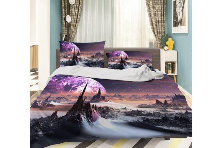 3D Purple Moon Mountains Snow Quilt Cover Set Bedding Set Pillowcases 04-King