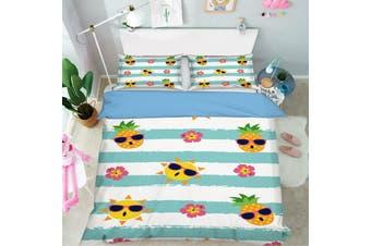 3D Blue Stripes Pineapple Sun Quilt Cover Set Bedding Set Pillowcases 02-Single