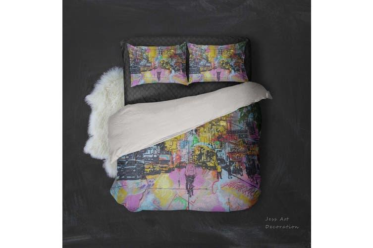 3D City Street Graffiti Quilt Cover Set Bedding Set Pillowcases 24-Double