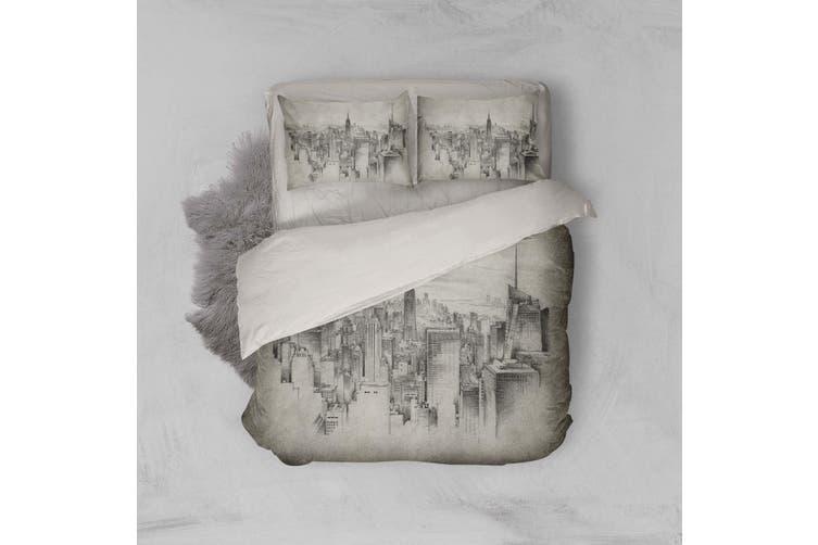 3D Black Sketch City Building Quilt Cover Set Bedding Set Pillowcases 22-King