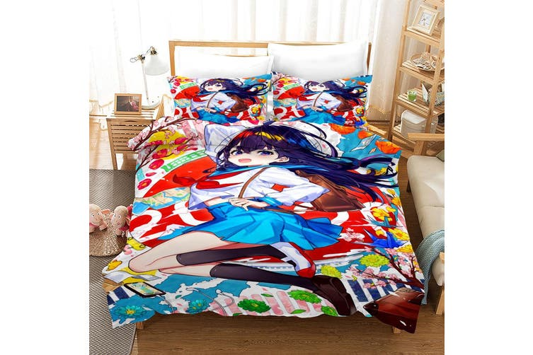 3D Anime Girl Quilt Cover Set Bedding Set Pillowcases 48-Queen