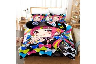 3D Anime Girl Quilt Cover Set Bedding Set Pillowcases 45-King