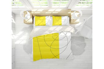 3D Yellow Pattern Quilt Cover Set Bedding Set Pillowcases 74-King