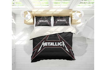 3D Metallica Rock Band Quilt Cover Set Bedding Set Pillowcases 37-Double