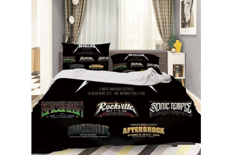 3D Metallica Rock Band Quilt Cover Set Bedding Set Pillowcases 29-King