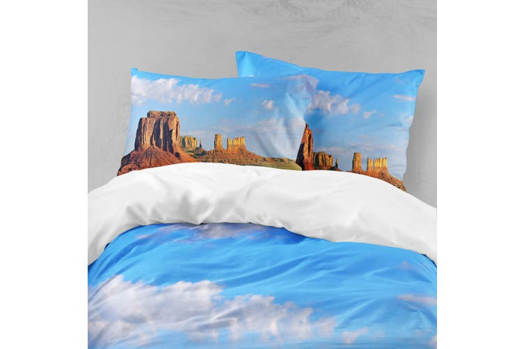 3D Blue Sky Desert Boulder Mountain Quilt Cover Set Bedding Set Pillowcases  11-King