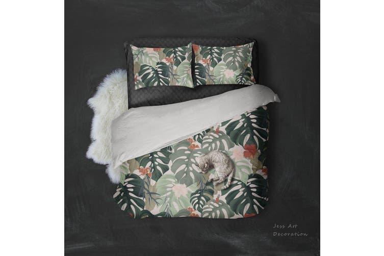3D Green Plant Leaf Pattern Quilt Cover Set Bedding Set Pillowcases  6-King