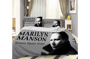 3D Marilyn Manson Quilt Cover Set Bedding Set Pillowcases 21-Single