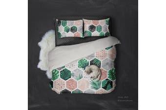 3D Tropical Plant Flowers Quilt Cover Set Bedding Set Pillowcases  3-King