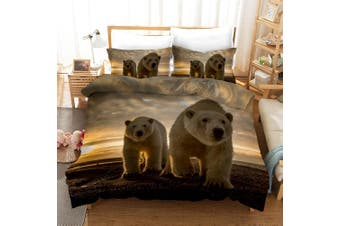 3D Grey Sky Bear Quilt Cover Set Bedding Set Pillowcases 12-Single