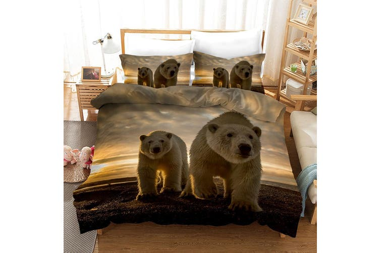 3D Grey Sky Bear Quilt Cover Set Bedding Set Pillowcases 12-King