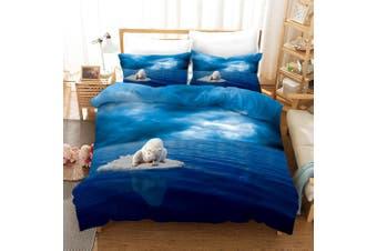 3D Blue Sky Sea Polar Bear Quilt Cover Set Bedding Set Pillowcases 11-Single