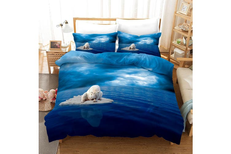 3D Blue Sky Sea Polar Bear Quilt Cover Set Bedding Set Pillowcases 11-King