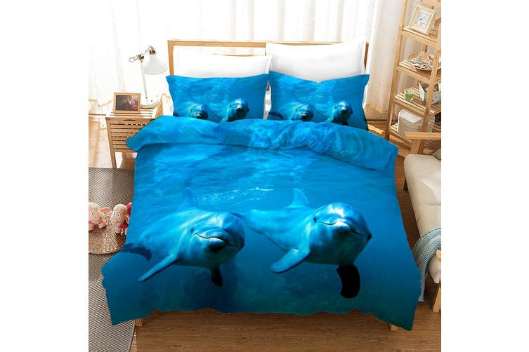 3D Blue Sea Dolphin Quilt Cover Set Bedding Set Pillowcases 10-Double