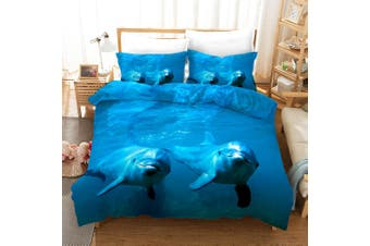 3D Blue Sea Dolphin Quilt Cover Set Bedding Set Pillowcases 10-Queen