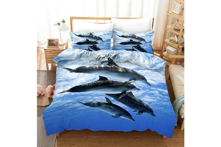 3D Blue Sky Sea Dolphin Quilt Cover Set Bedding Set Pillowcases 9-Queen