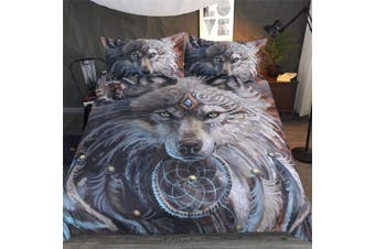 3D Wolf Warrior D80 Duvet Cover Bedding Set Quilt Cover Quilt Duvet Cover Pillowcases Bedding       -King