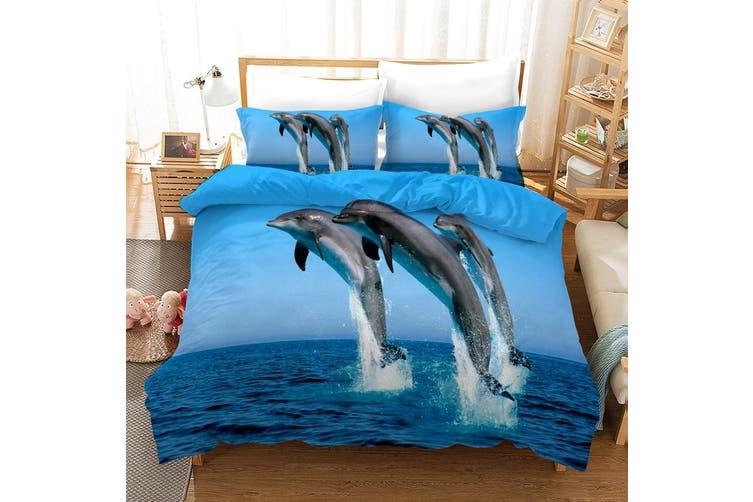 3D Blue Sky Sea Dolphin Quilt Cover Set Bedding Set Pillowcases 8-Queen