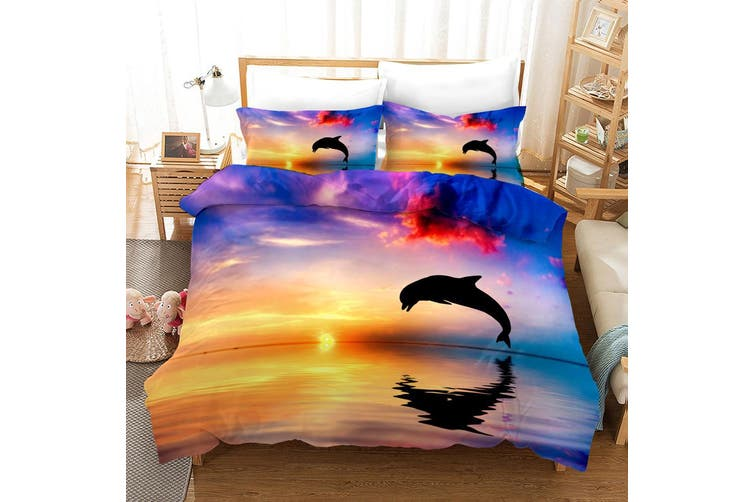 3D Yellow Sky Sea Dolphin Quilt Cover Set Bedding Set Pillowcases 7-Single