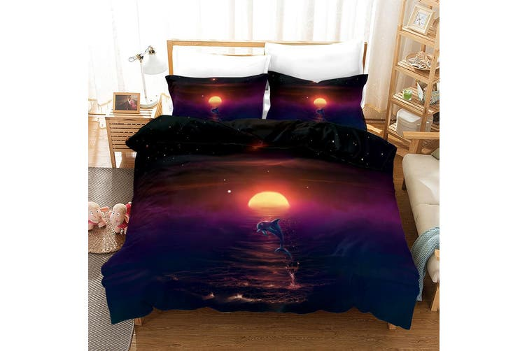 3D Blue Sky Sunset Dolphin Quilt Cover Set Bedding Set Pillowcases 6-Single
