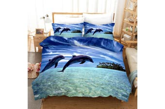 3D Purple Sky Sea Dolphin Quilt Cover Set Bedding Set Pillowcases 4-Queen
