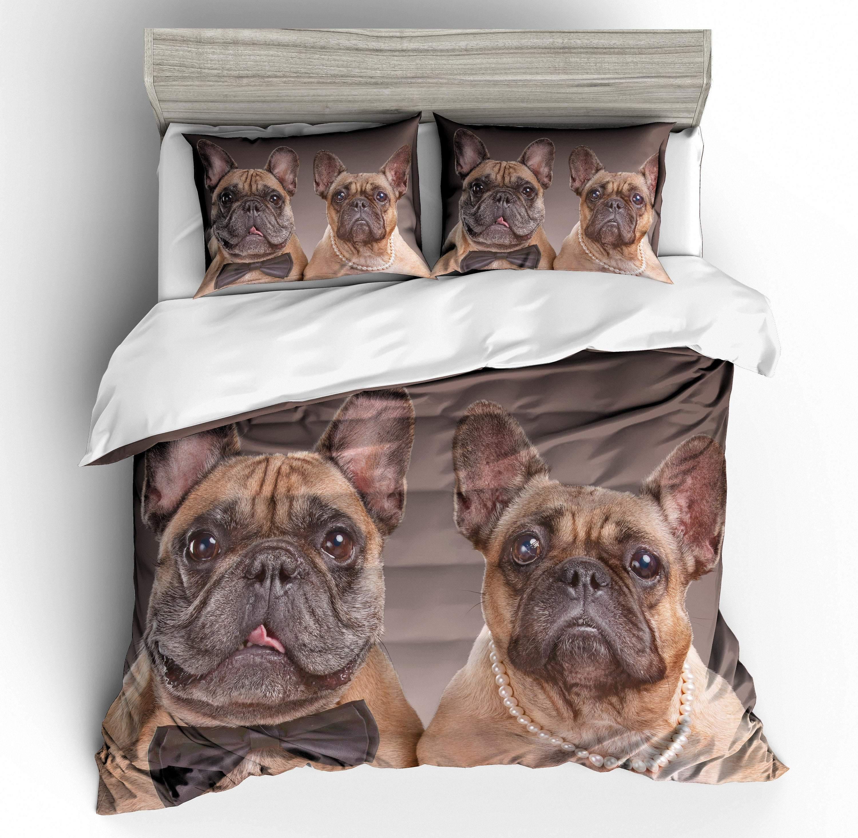 3D Cartoon French bulldog Quilt Cover