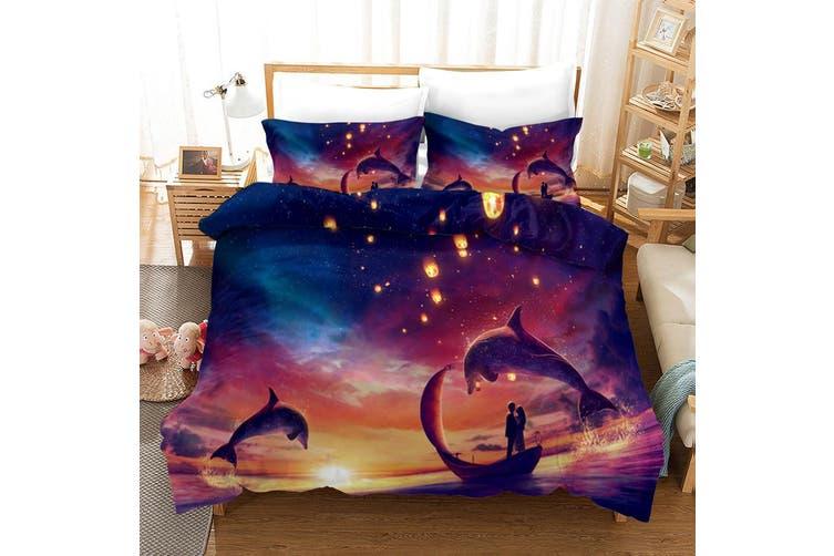 3D Purple Sky Dolphin Quilt Cover Set Bedding Set Pillowcases 3-Double