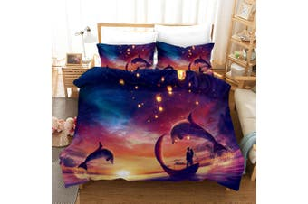 3D Purple Sky Dolphin Quilt Cover Set Bedding Set Pillowcases 3-Queen