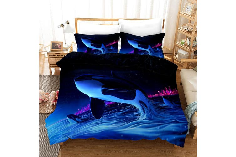 3D Blue Sea Dolphin Quilt Cover Set Bedding Set Pillowcases 2-Double