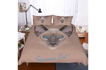 3D Siamese cat  Quilt Cover Set Bedding Set Pillowcases-Double
