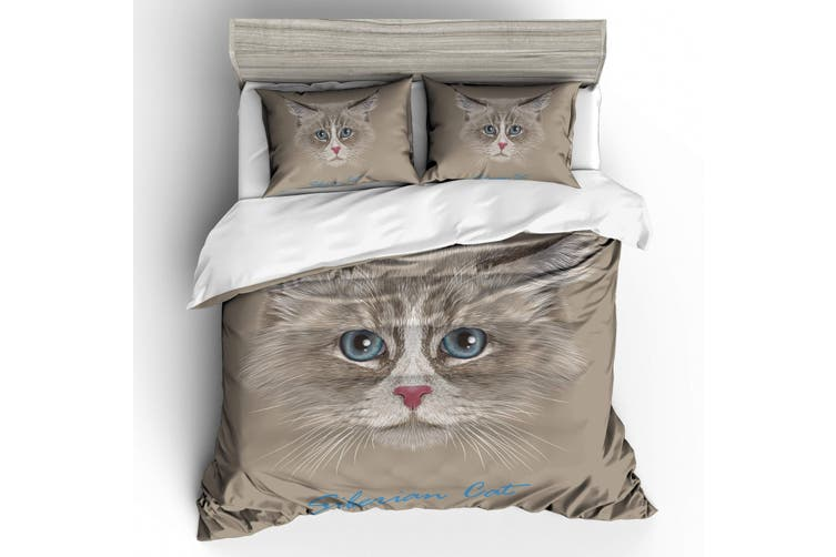 3D Long-haired cat  Quilt Cover Set Bedding Set Pillowcases-Single
