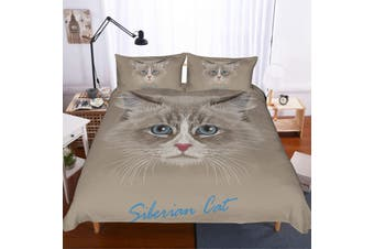 3D Long-haired cat  Quilt Cover Set Bedding Set Pillowcases-Queen