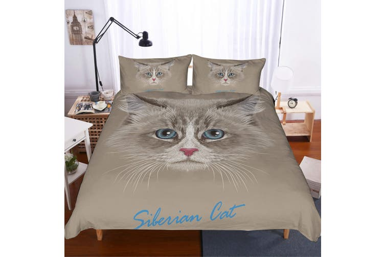 3D Long-haired cat  Quilt Cover Set Bedding Set Pillowcases-King