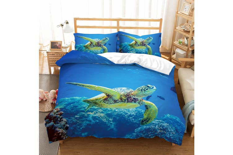 3D Sea world  Sea turtle Bedding Set Quilt Cover Quilt Duvet Cover Pillowcases JAD 2 Personalized  Bedding        -King