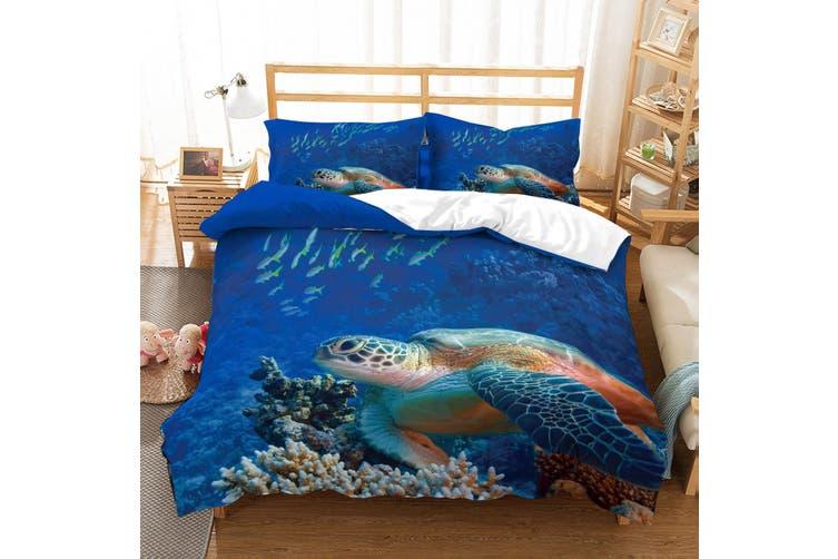 3D Sea world  Sea turtle  Quilt Cover Set Bedding Set Pillowcases JAD 2-Single