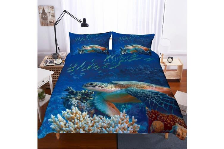 3D Sea world  Sea turtle  Quilt Cover Set Bedding Set Pillowcases JAD 2-Double