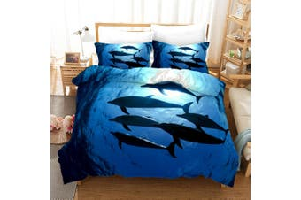 3D Blue Sea Dolphin Quilt Cover Set Bedding Set Pillowcases 289-King