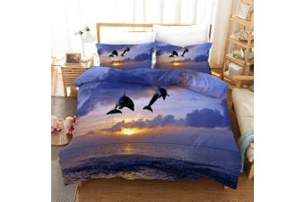 3D Purple Sky Sea Dolphin Quilt Cover Set Bedding Set Pillowcases 278-Double