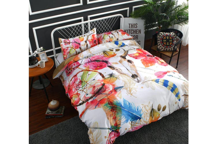 3D Flower feather Antelope  Quilt Cover Set Bedding Set Pillowcases-Double