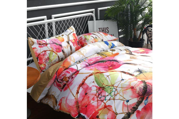 3D Flower feather Antelope  Quilt Cover Set Bedding Set Pillowcases-King