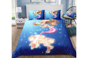 3D Conch  Mermaid  Quilt Cover Set Bedding Set Pillowcases-Single