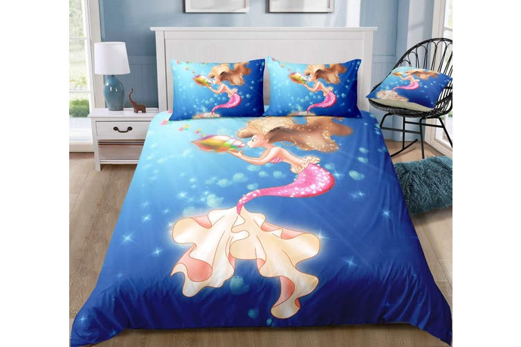 3D Conch  Mermaid  Quilt Cover Set Bedding Set Pillowcases-Double