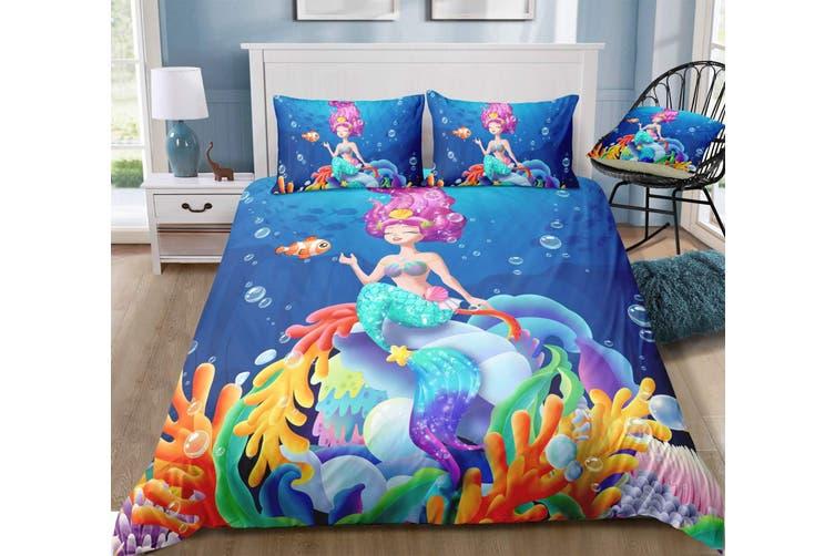 3D Cartoon  Mermaid  Quilt Cover Set Bedding Set Pillowcases-Single