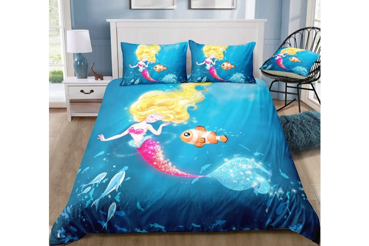 3D Seafloor  Cartoon  Mermaid  Quilt Cover Set Bedding Set Pillowcases-Single