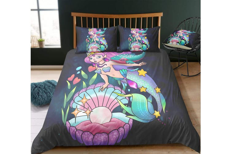3D Cartoon  Mermaid  Quilt Cover Set Bedding Set Pillowcases JAD 5-King